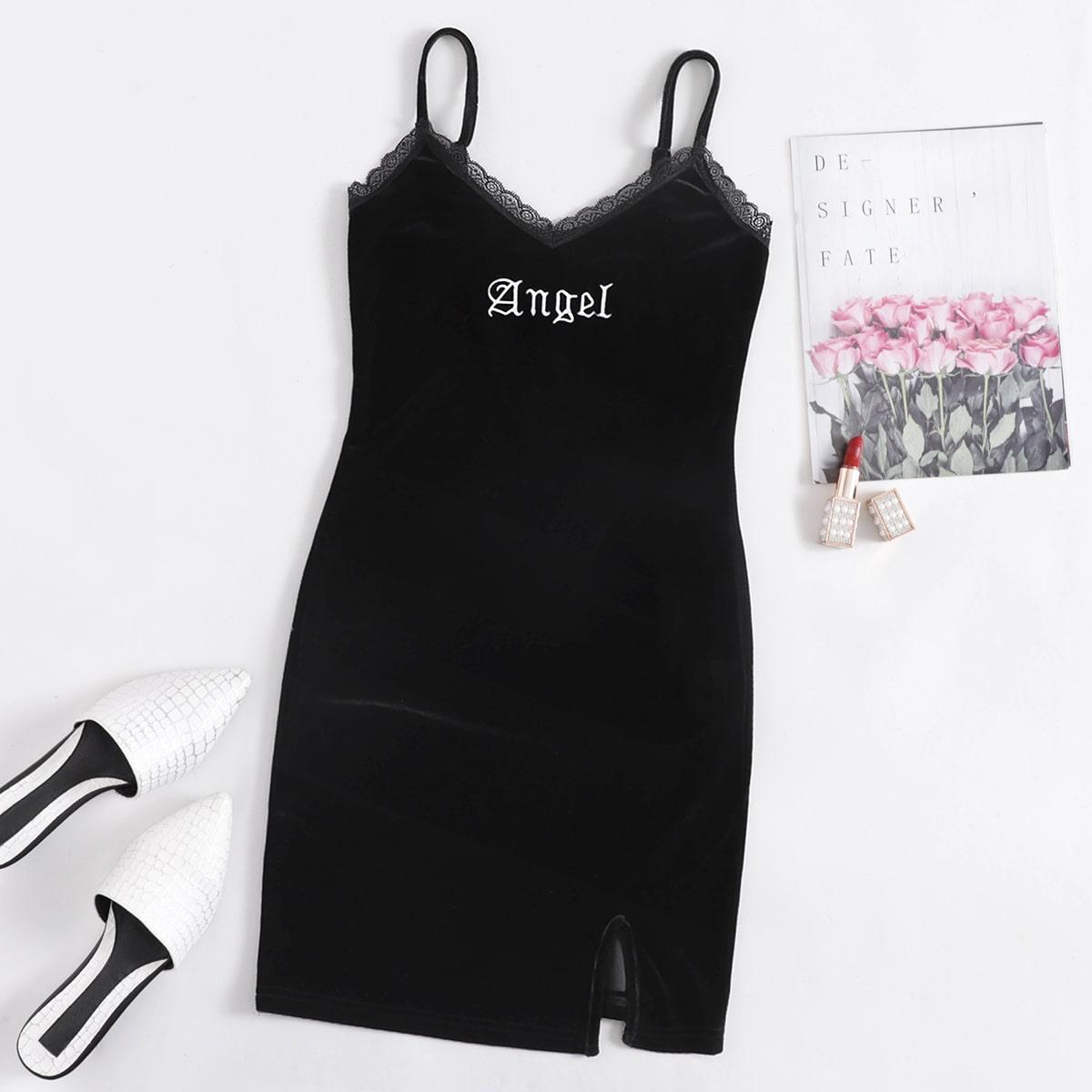 Бархатное облегающее платье размера плюс с текстовой вышивкой и кружевной отделкой
