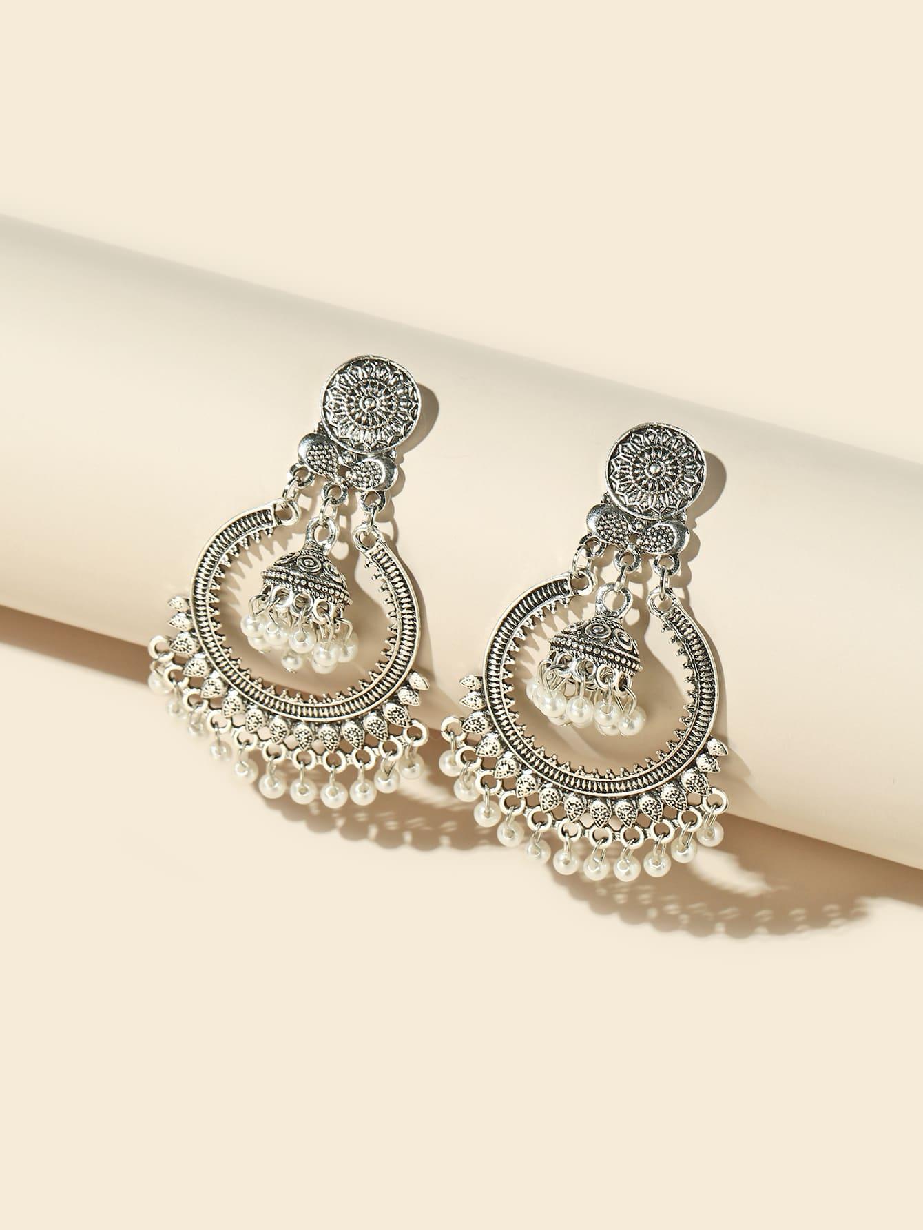 Faux Pearl Decor Drop Jhumka Earrings thumbnail