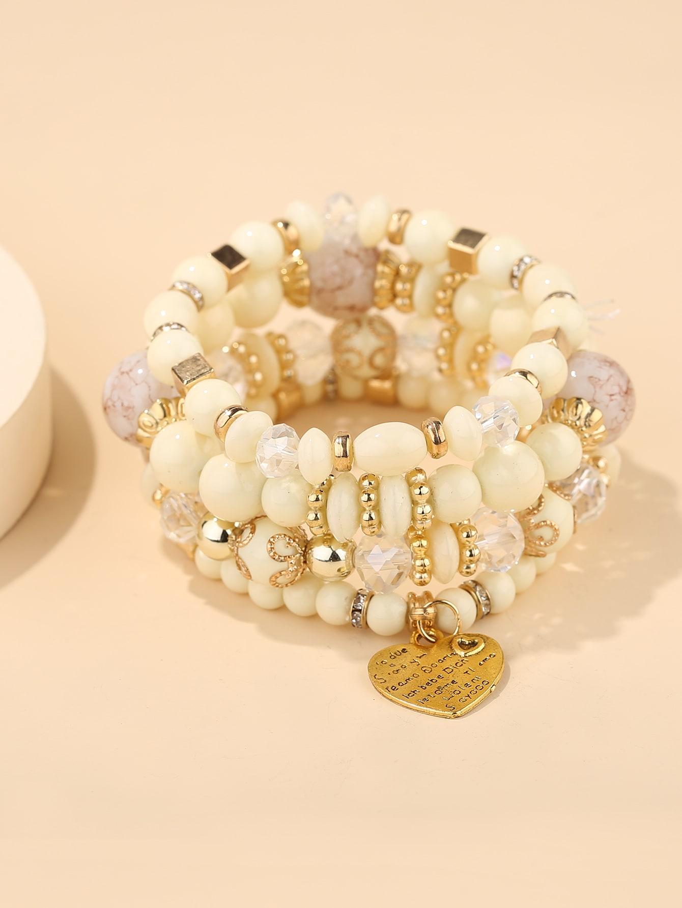 4pcs Heart Decor Beaded Bracelet thumbnail