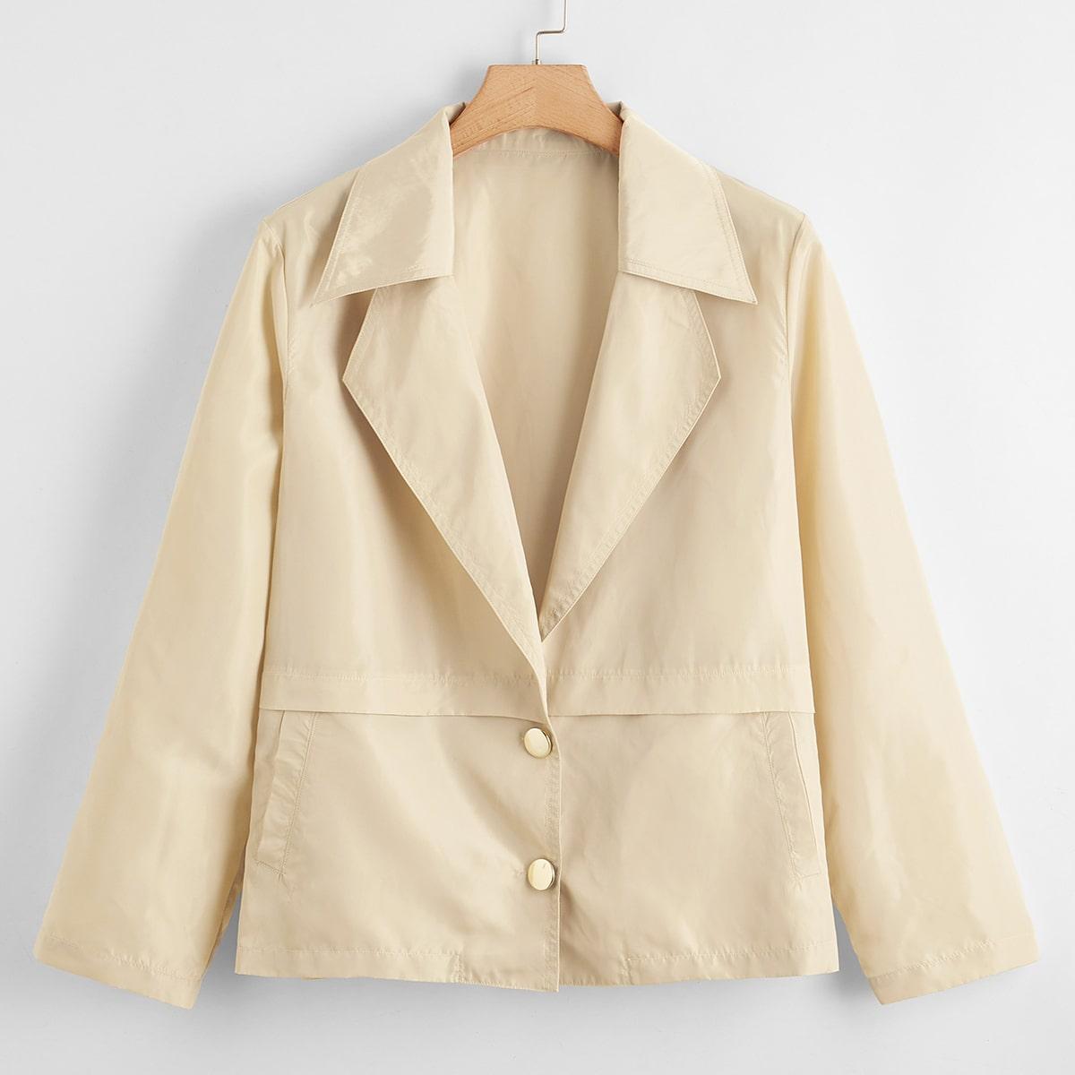 С карманами одноцветный повседневный куртки размер плюс