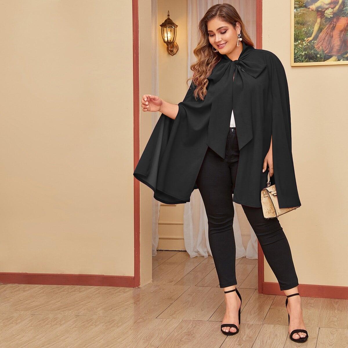 Чёрный Разрез Одноцветный Элегантный Плюс размеры пальто