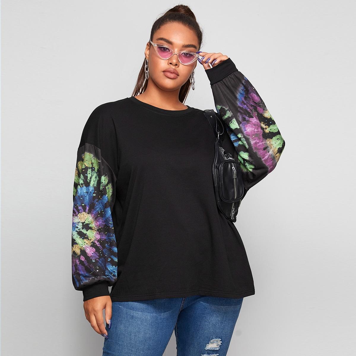 Пуловер размера плюс с принтом тай дай