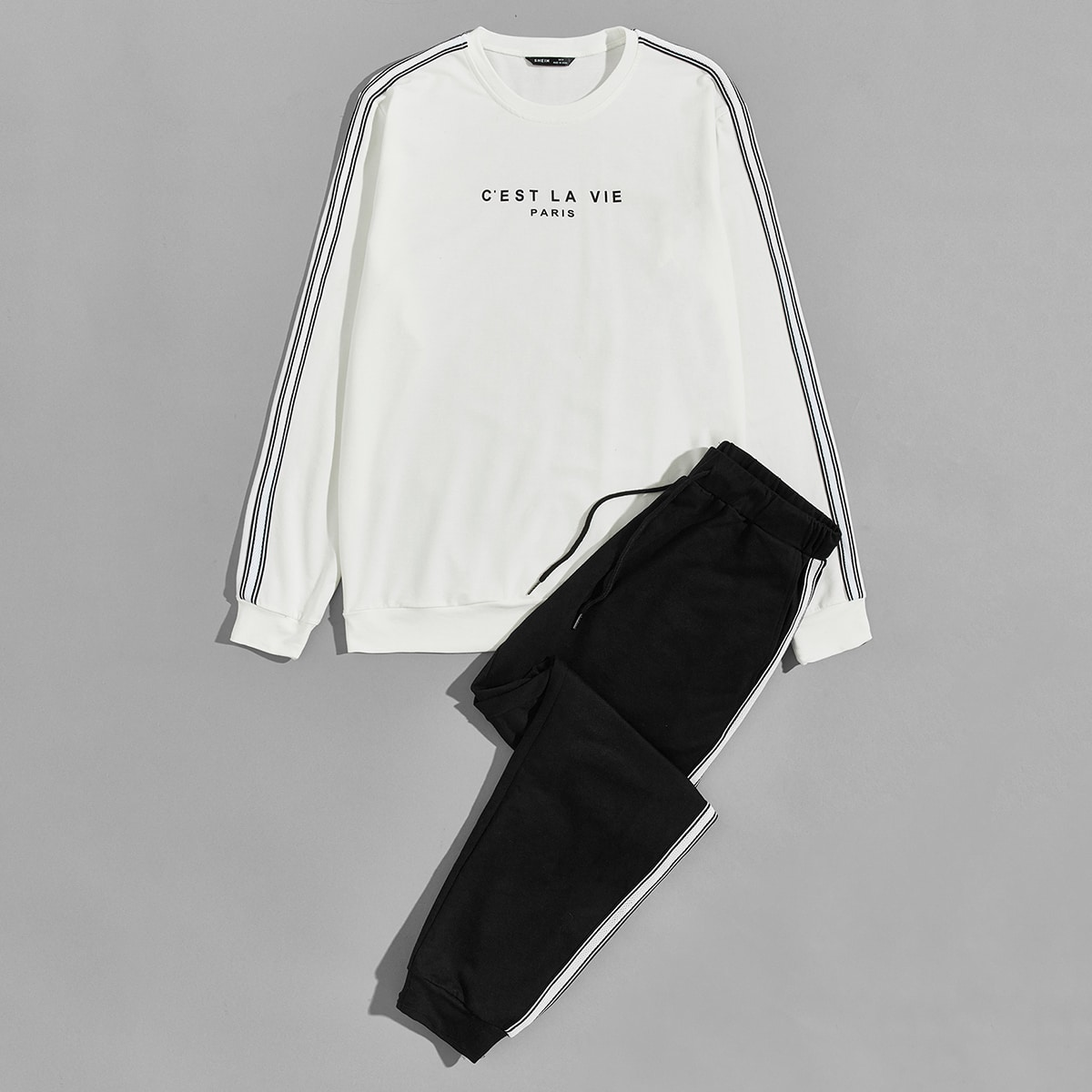 Men Slogan Graphic Striped Tape Detail Pullover & Sweatpants Set, SHEIN  - buy with discount