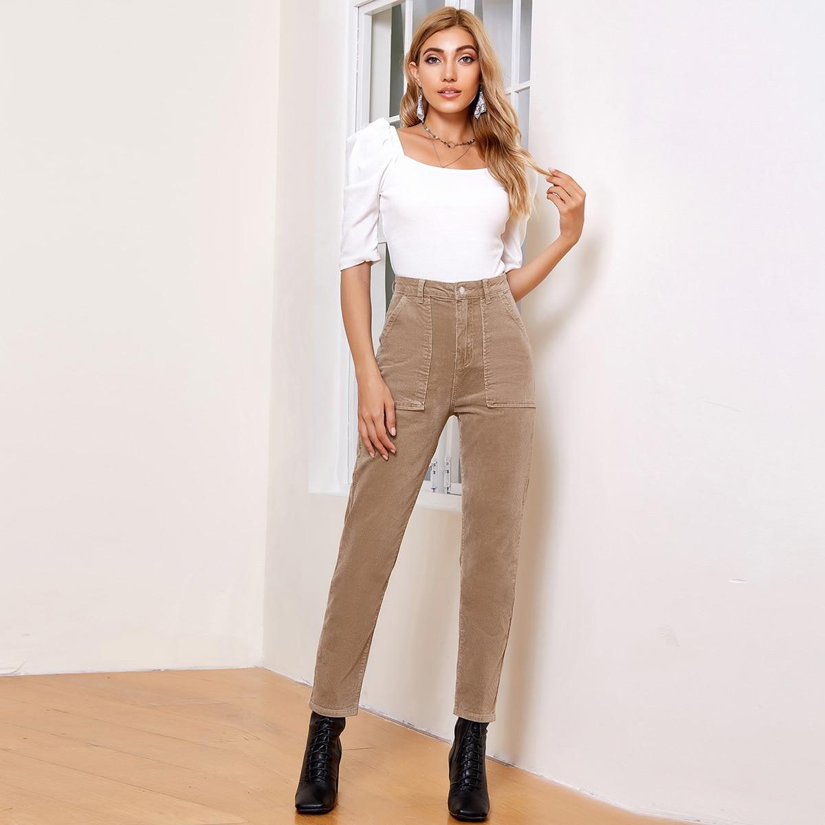 Вельветовые брюки с карманом