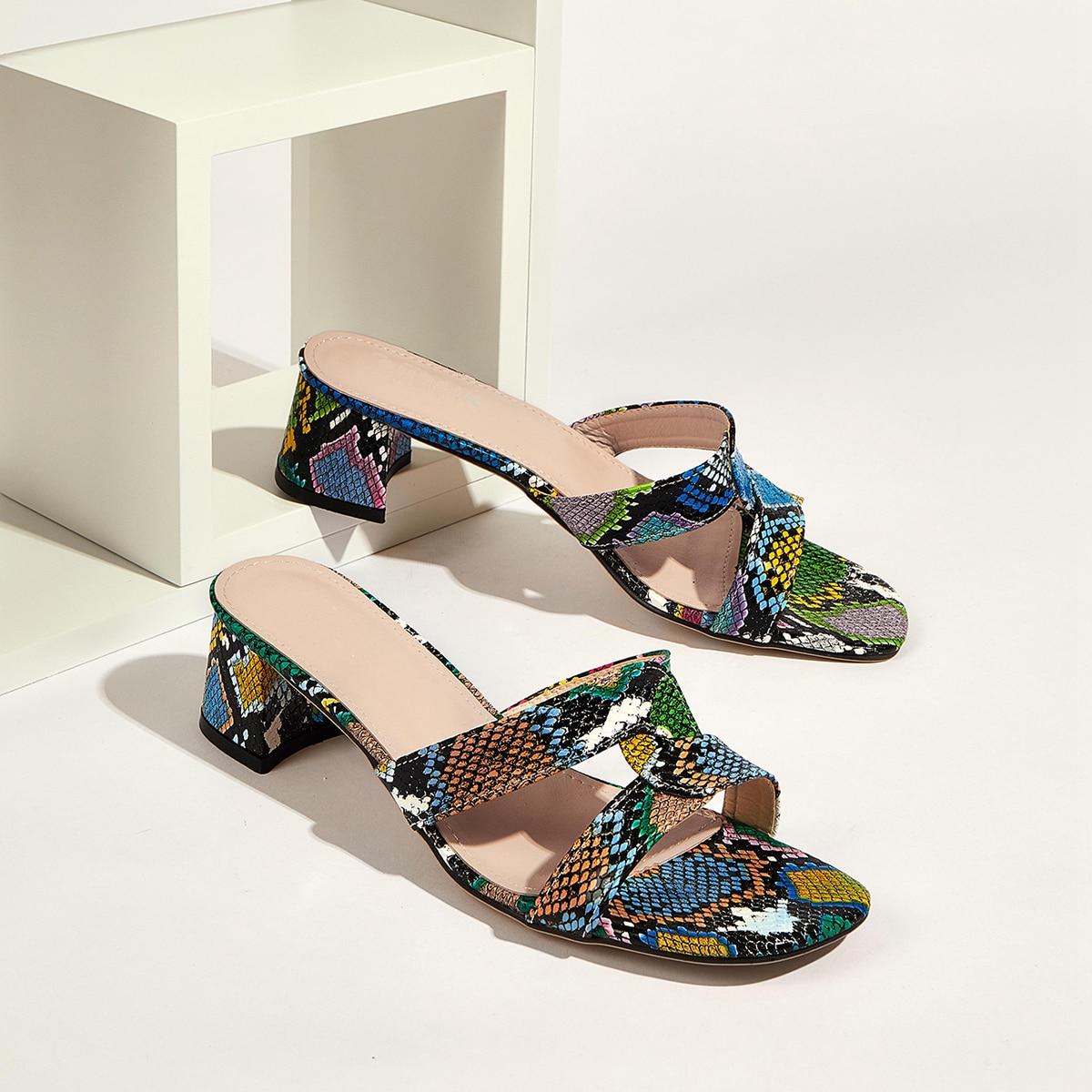 shein sandali con tacco grosso in pelle di serpente spuntati donna