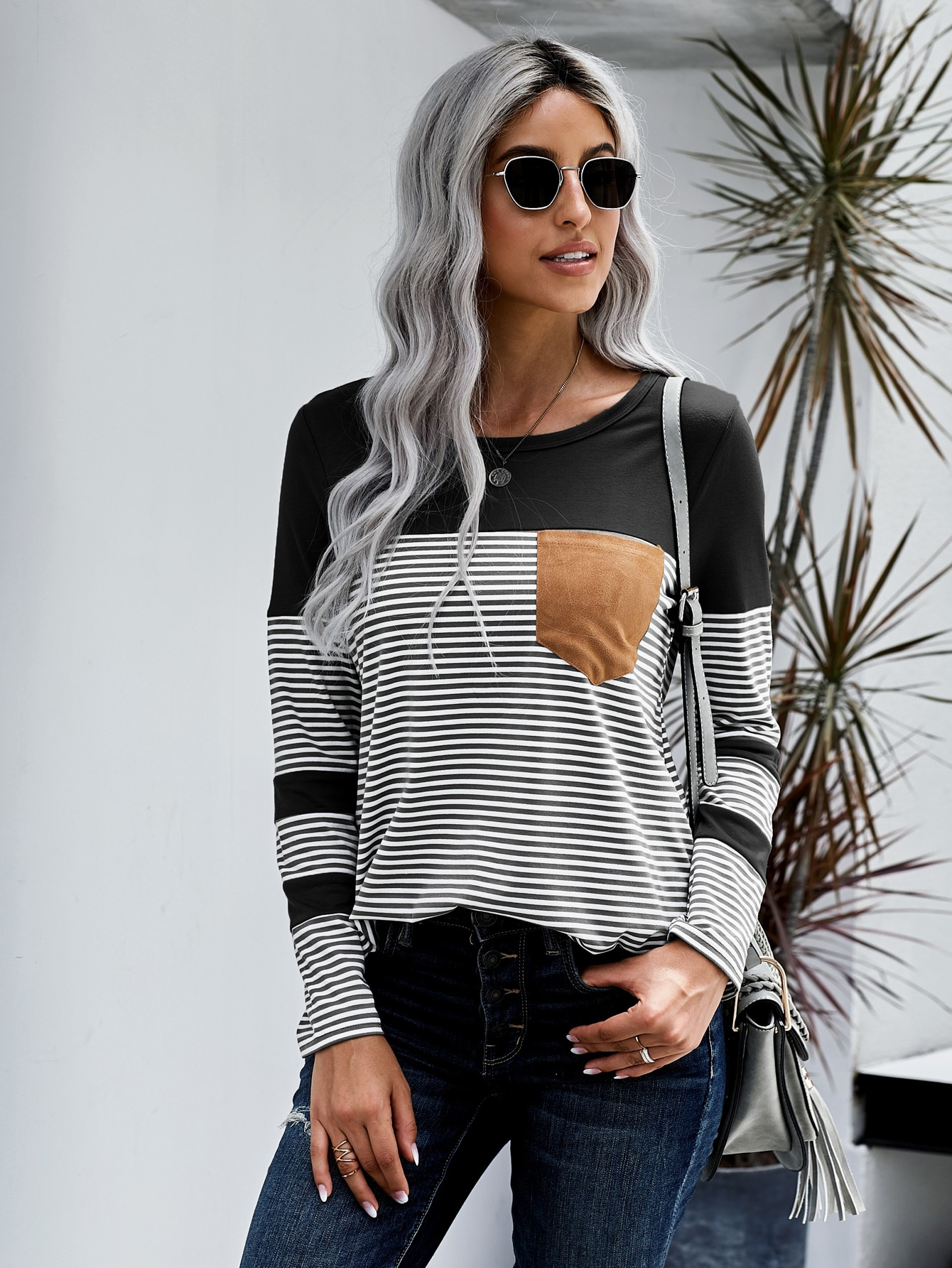 Pocket Patched Stripe Tee thumbnail
