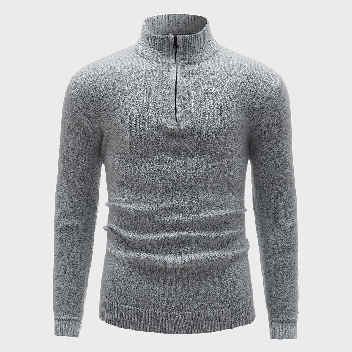 Men Half Zipper Placket Solid Sweater