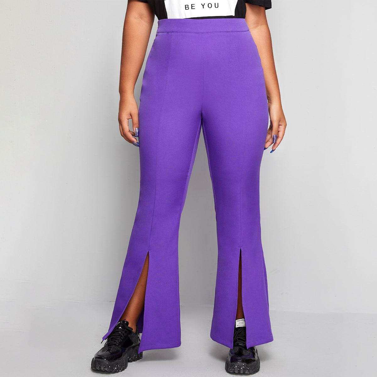 Расклешенные брюки размера плюс с разрезом