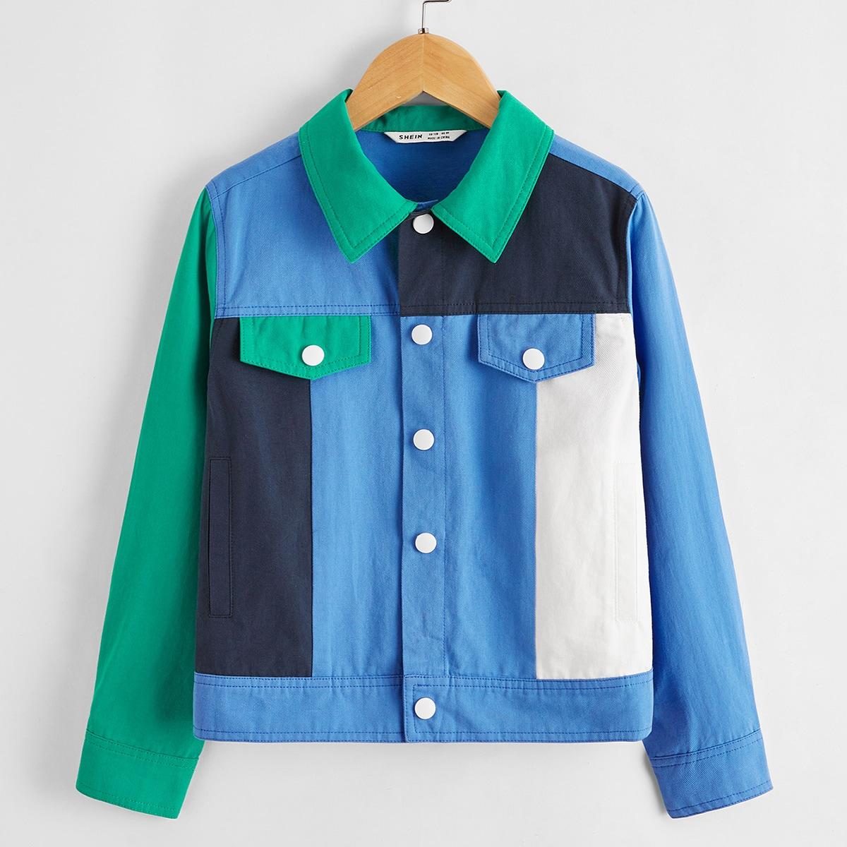 Однобортный контрастный цвет повседневный куртки для мальчиков