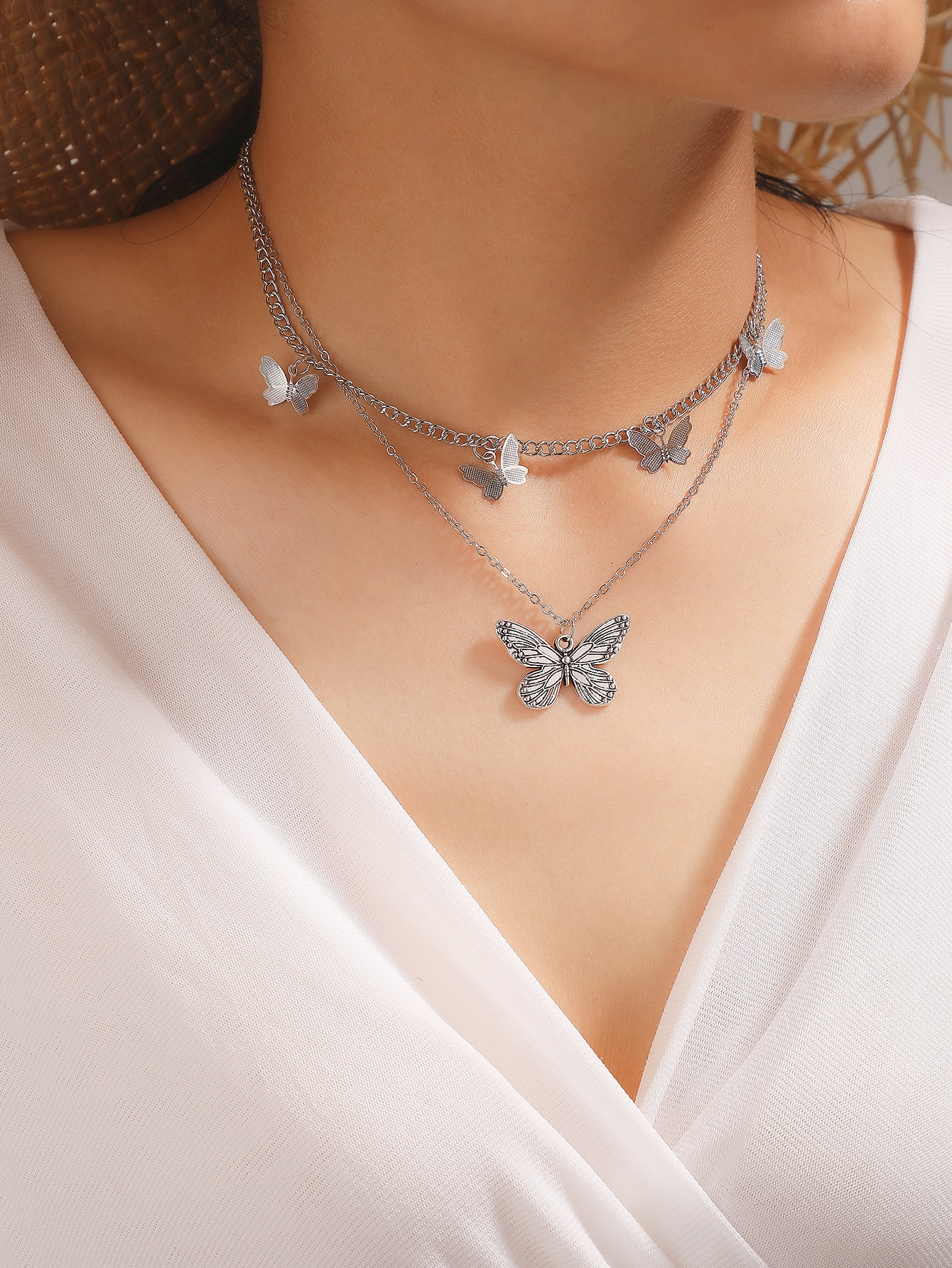 Двухслойное ожерелье с бабочкойswneck18200730509