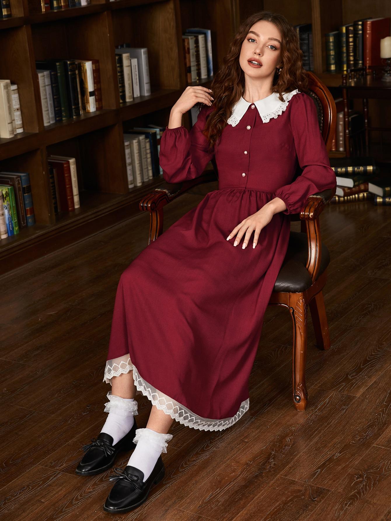 Schiffy Trim Collar Buttoned Front Embroidery Mesh Hem Dress thumbnail