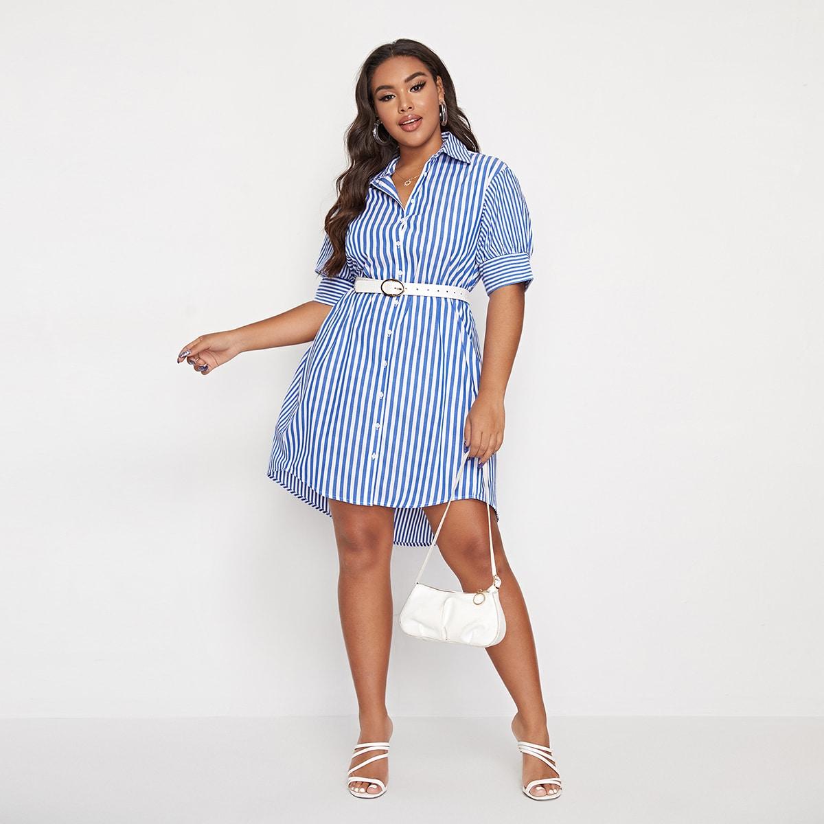 Платье размера плюс в полоску с пуговицами без пояса