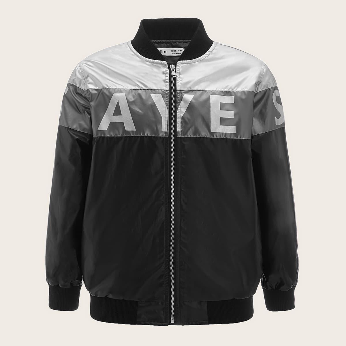 Контрастная куртка из искусственной кожи с текстовым принтом и молнией для мальчиков
