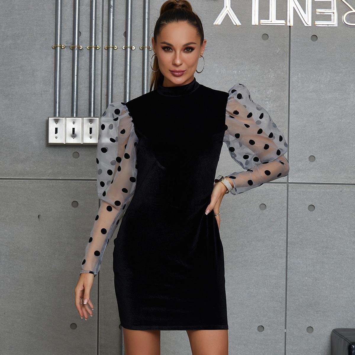 DKRX бархатное платье с разрезом сзади и сетчатым рукавом