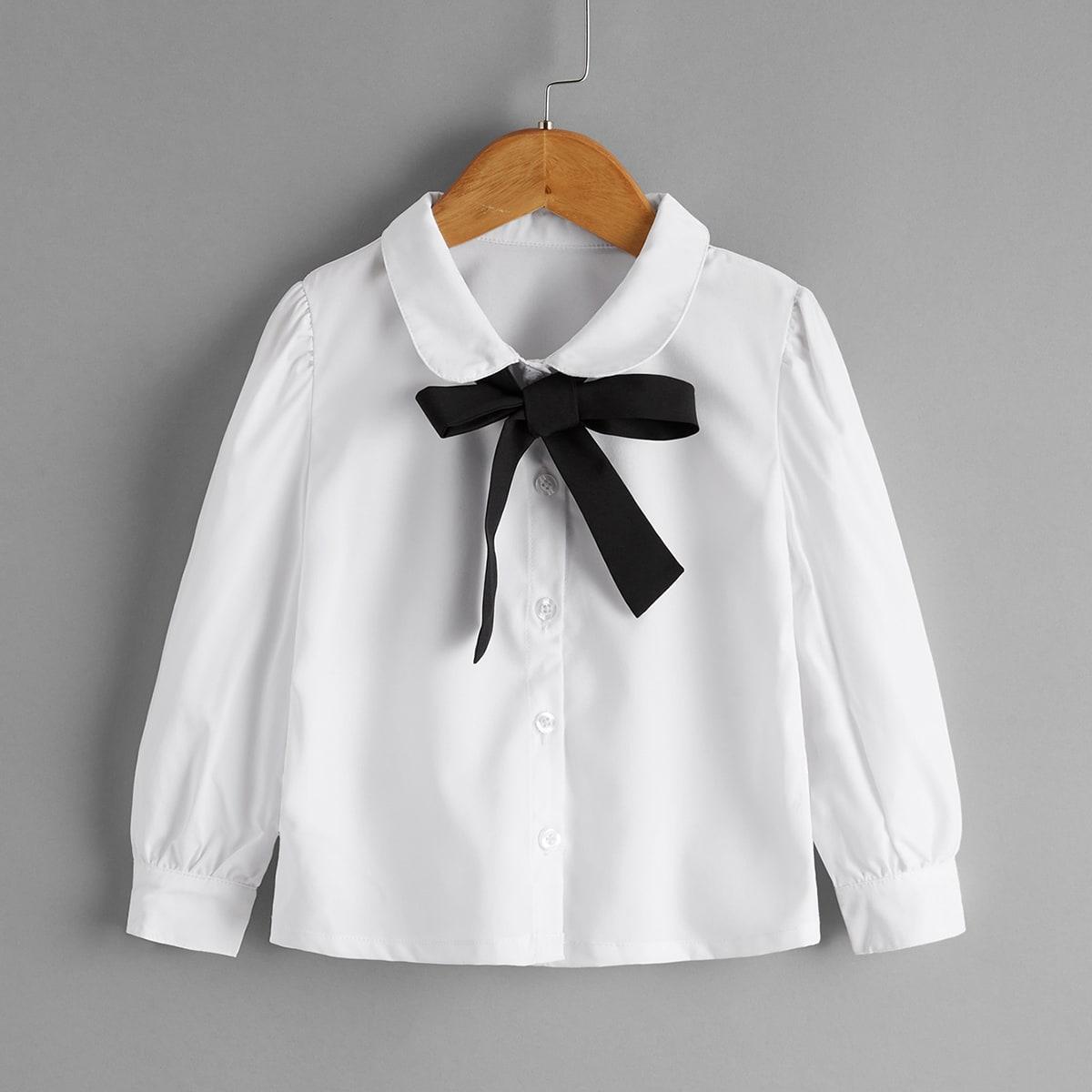 Блузка с узлом и кукольным воротником