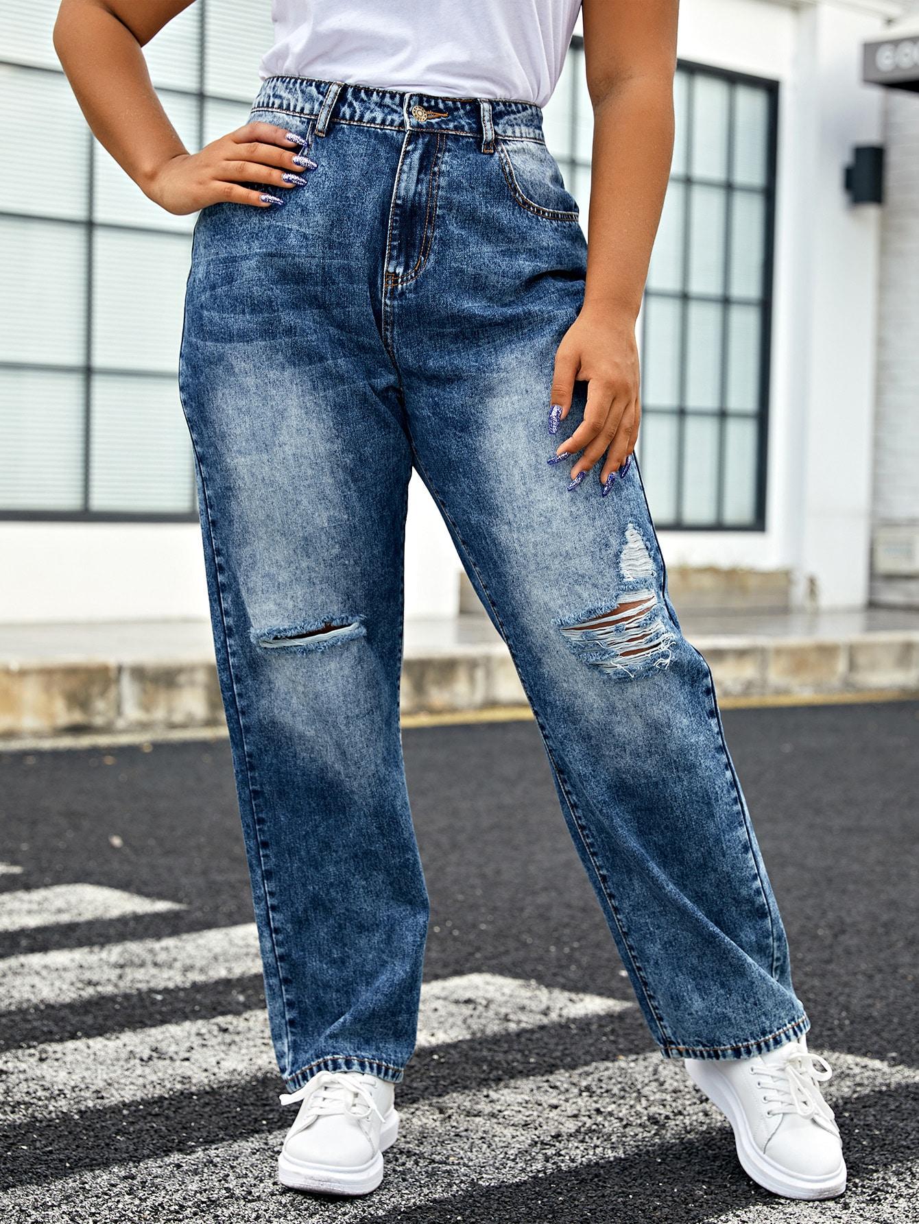 Plus Slant Pocket Ripped Jeans thumbnail