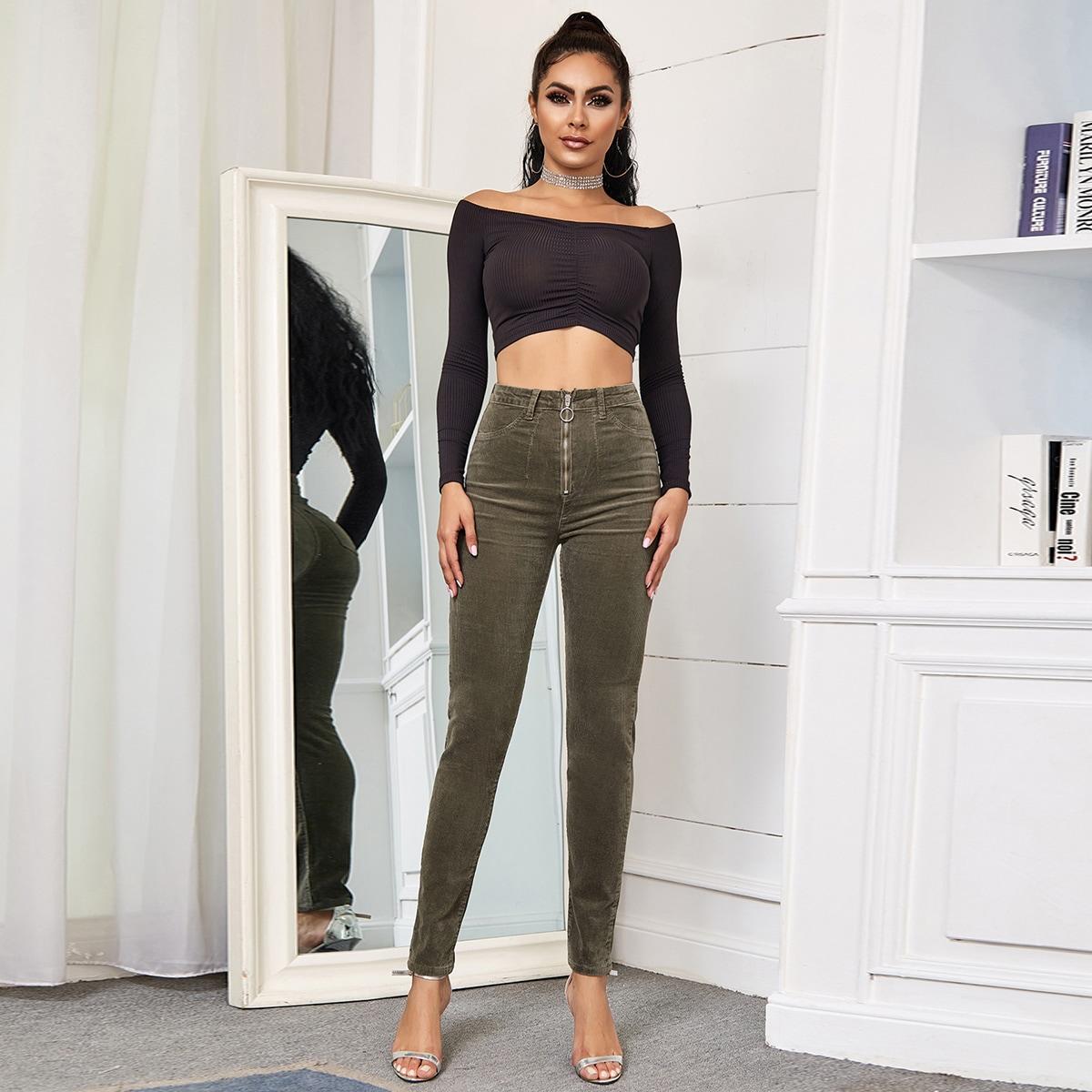 Вельветовые облегающие брюки