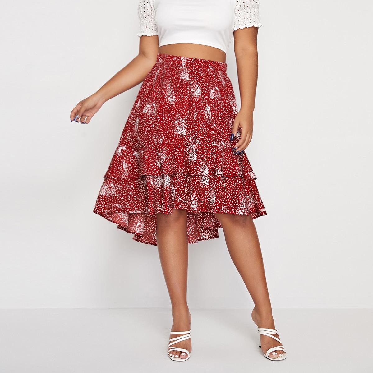 Асимметричная юбка размера плюс с принтом