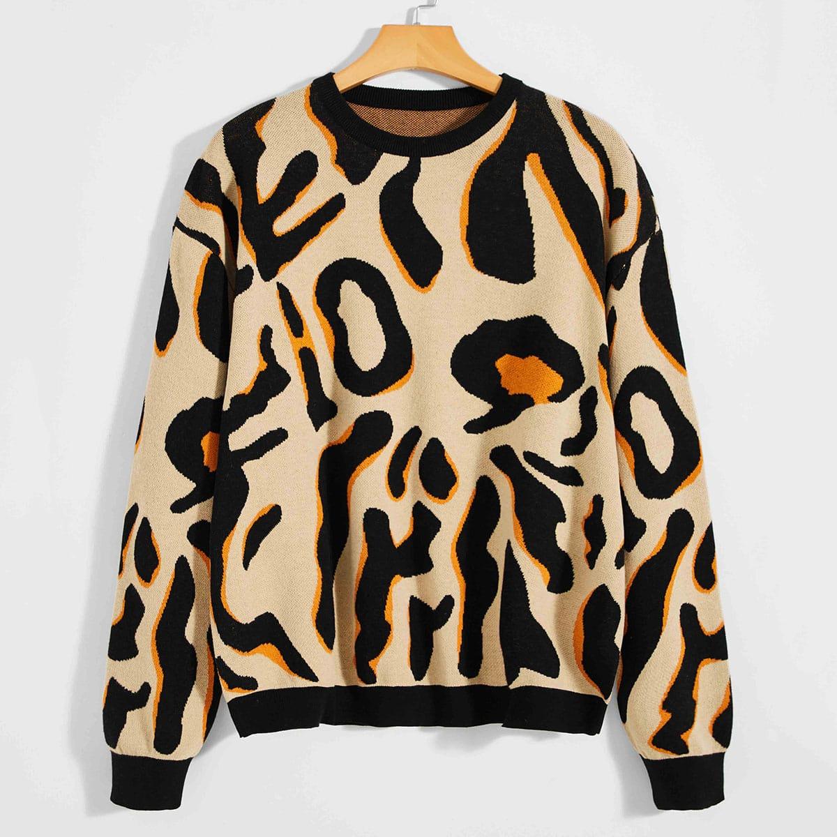 Мужской свитер с леопардовым узором