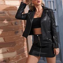 Lapel Collar Zip Up PU Leather Moto Jacket