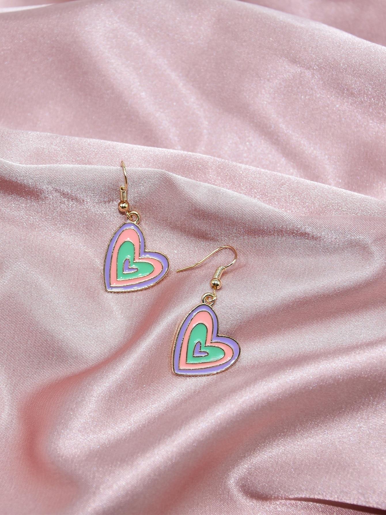 Colorful Heart Drop Earrings thumbnail