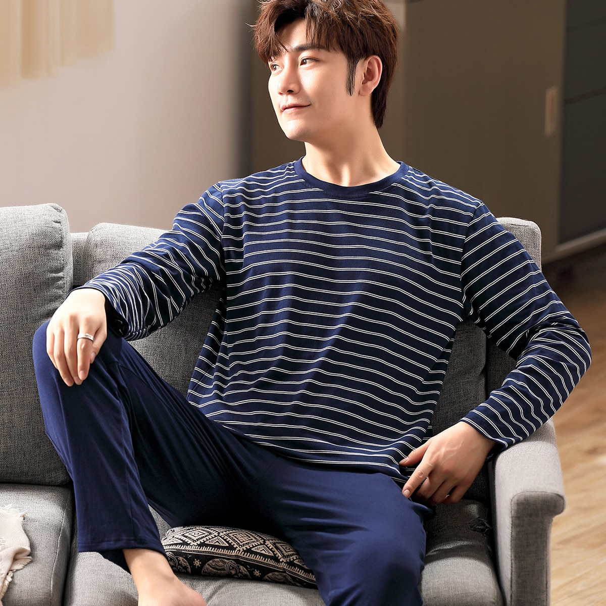 Men Striped Tee & Pants PJ Set