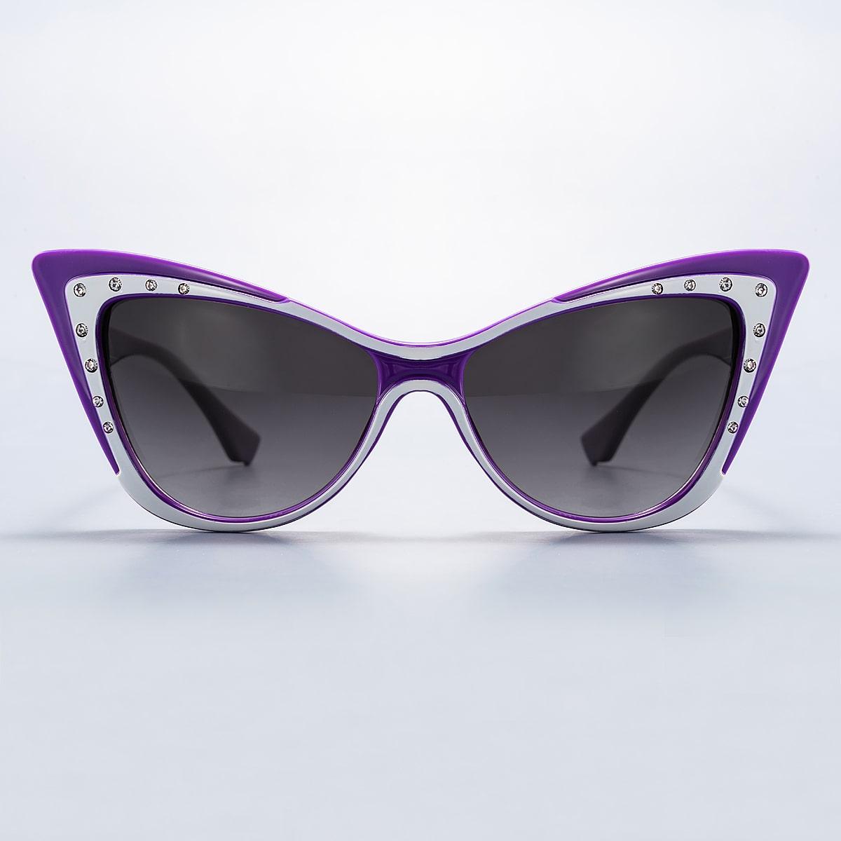 Солнечные очки в форме кошачьего глаза со стразами
