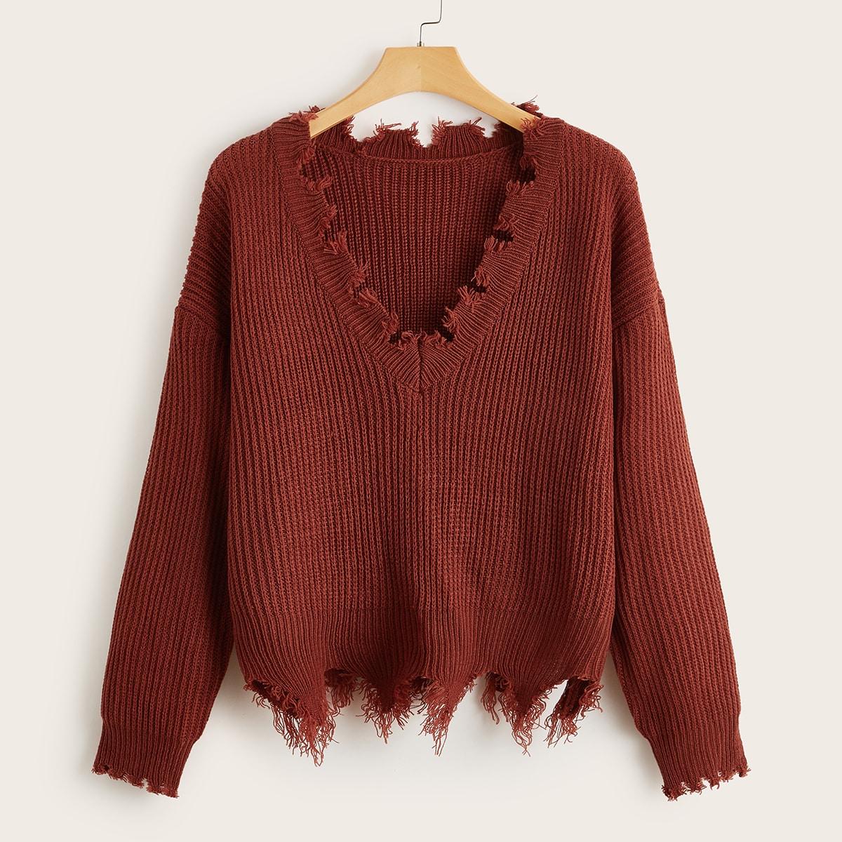 Однотонный вязаный свитер размера плюс в рубчик