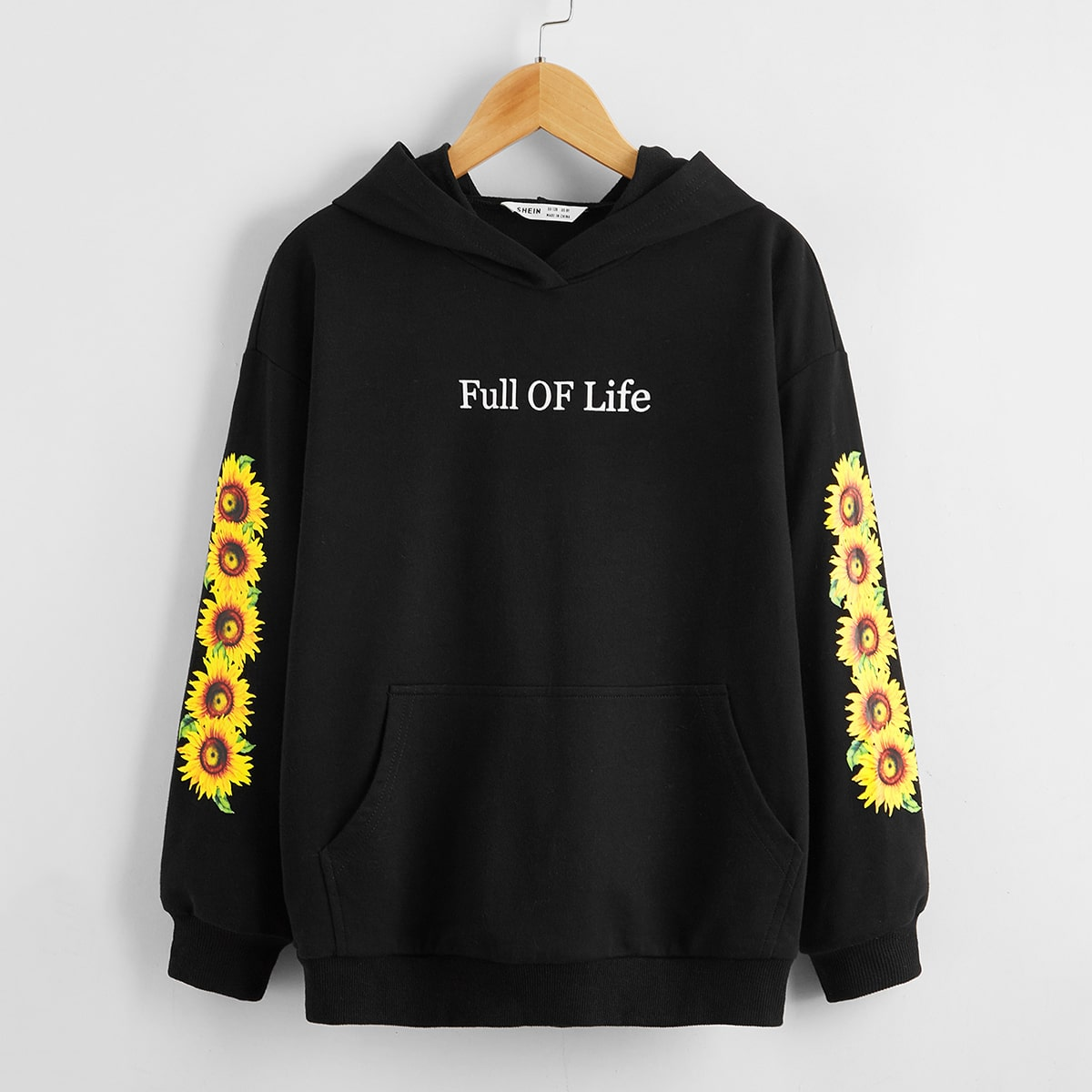 Girls Slogan and Sunflower Print Hoodie, SHEIN  - buy with discount