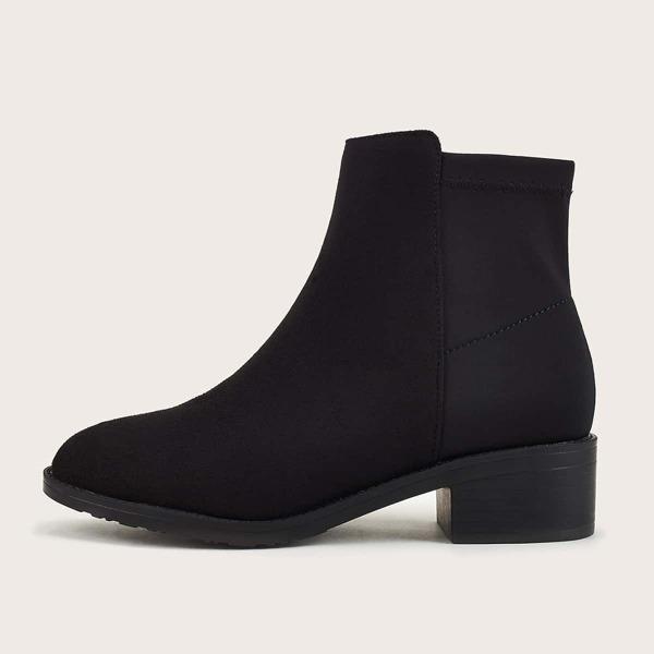 Minimalist Chunky Heeled Sock Boots, Black