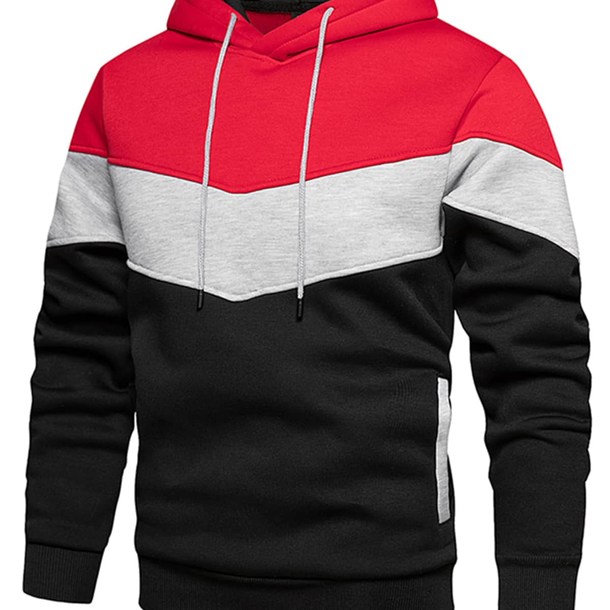 Men Color Block Drawstring Hoodie