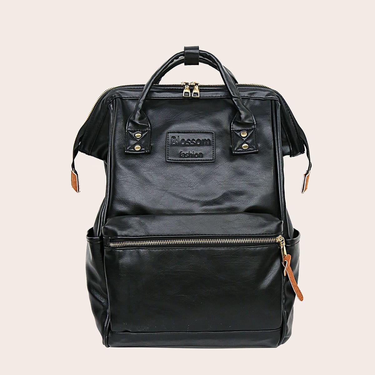 чёрный Одноцветный Рюкзак
