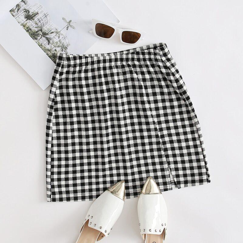 Split Hem Gingham Skirt, Black and white