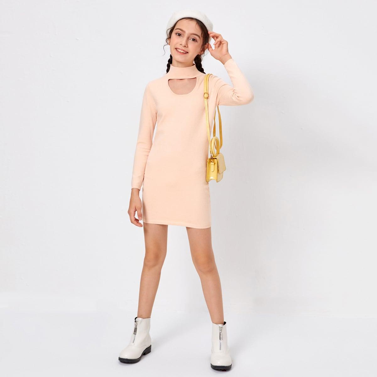 Одноцветный повседневный платья для девочек