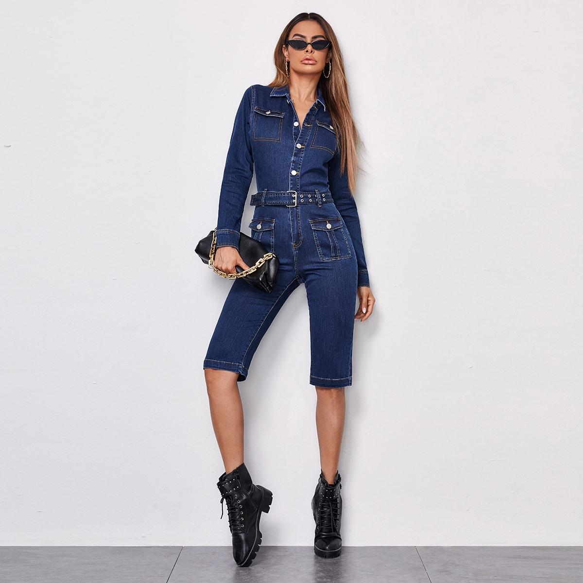 С карманами одноцветный повседневный джинсовые комбинезоны