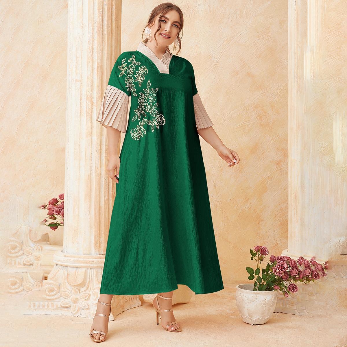 Армейский зеленый Вышивка Цветочный Элегантный Платья размер плюс