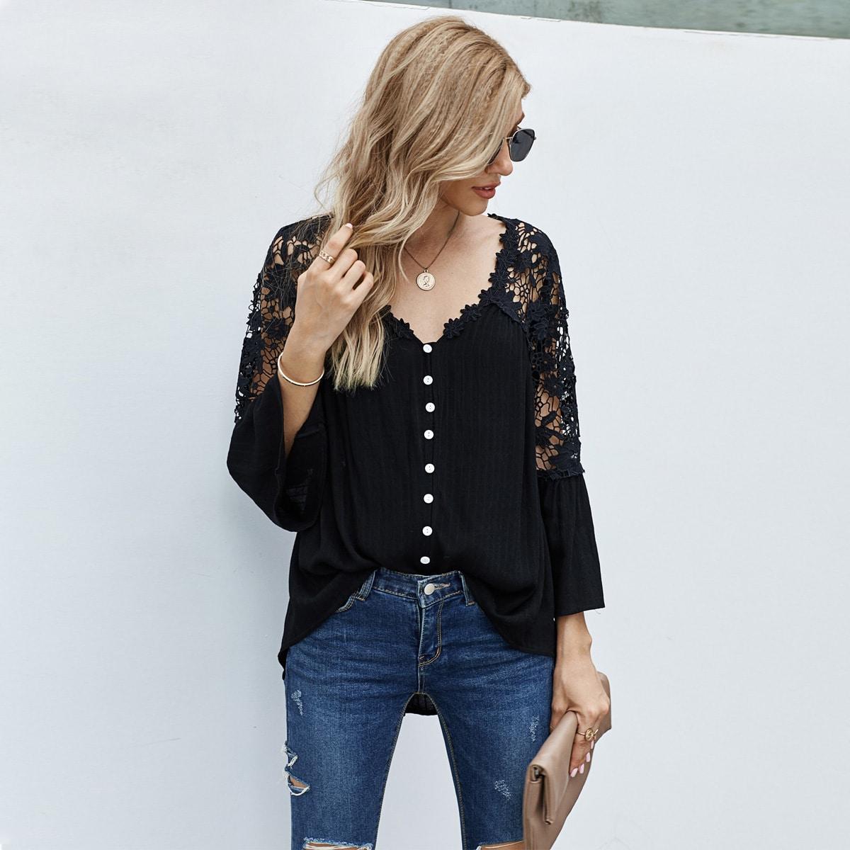Блуза с пуговицами и кружевом SheIn swblouse23200803419