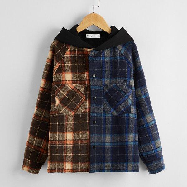 Boys Raglan Sleeve Patch Pocket Plaid Spliced Hooded Coat, Multicolor
