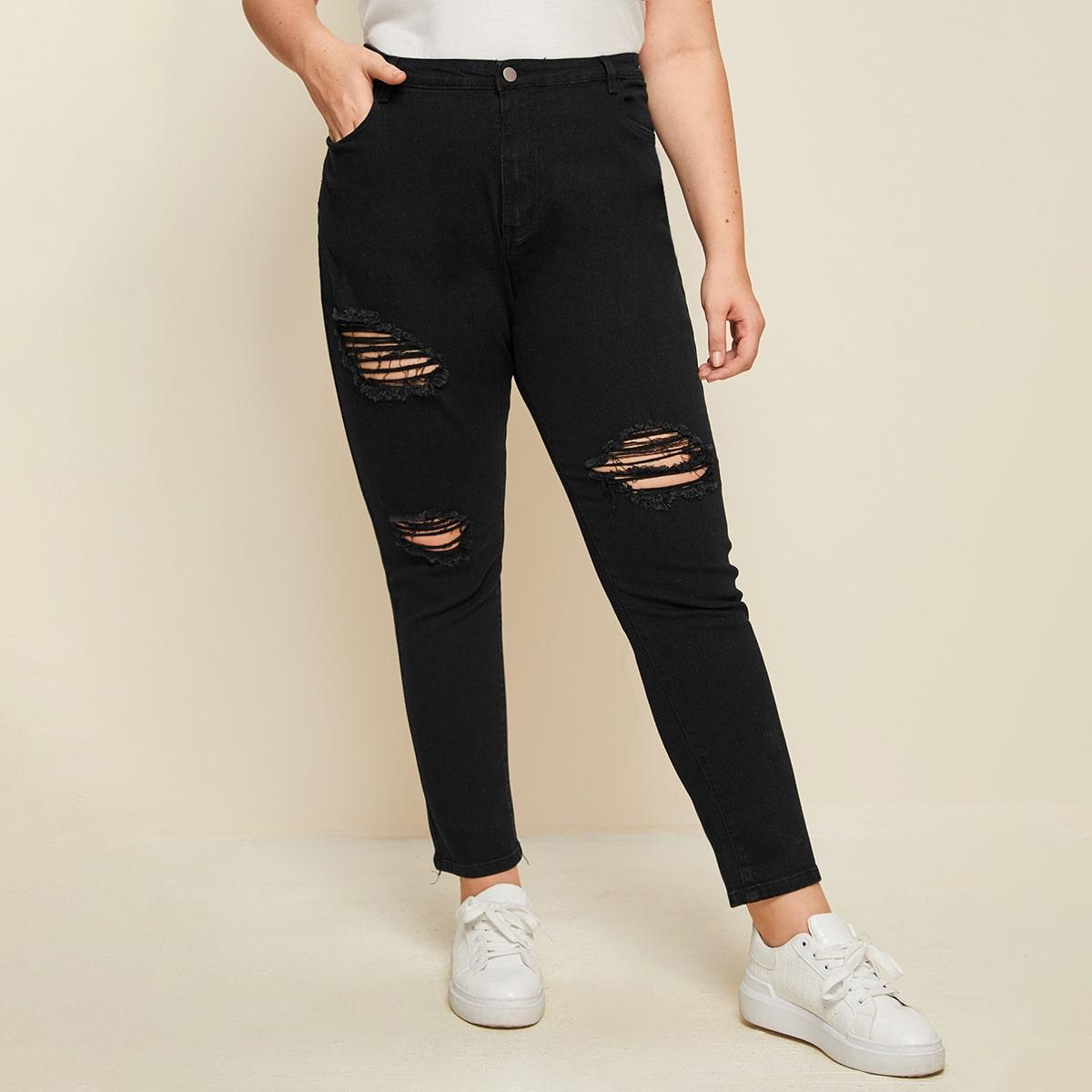 Однотонные рваные джинсы размера плюс