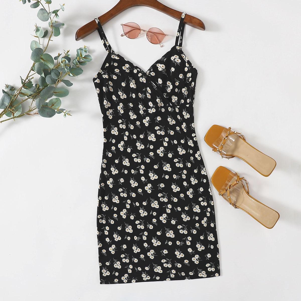 Платье с принтом маргаритки и v-образным воротником