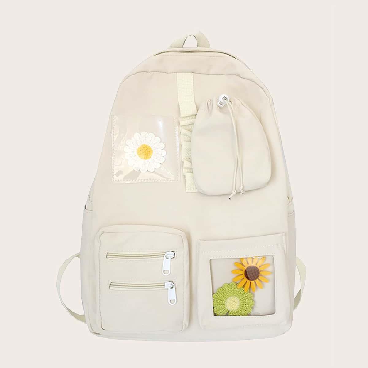 Рюкзак с карманом и декором цветка