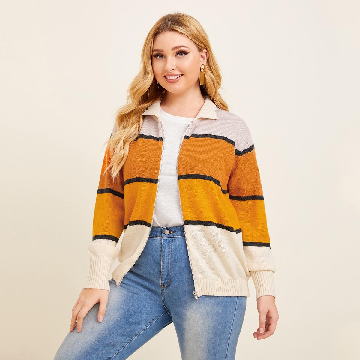 Контрастное пальто-свитер размера плюс с молнией