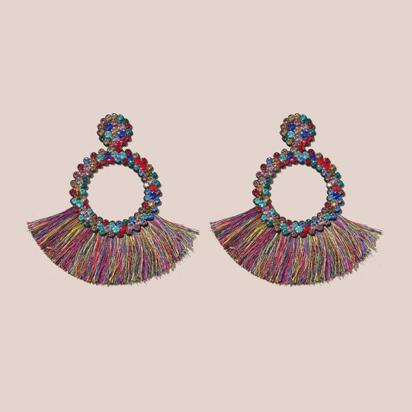 1pair Rhinestone Decor Fringe Drop Earrings, Multicolor