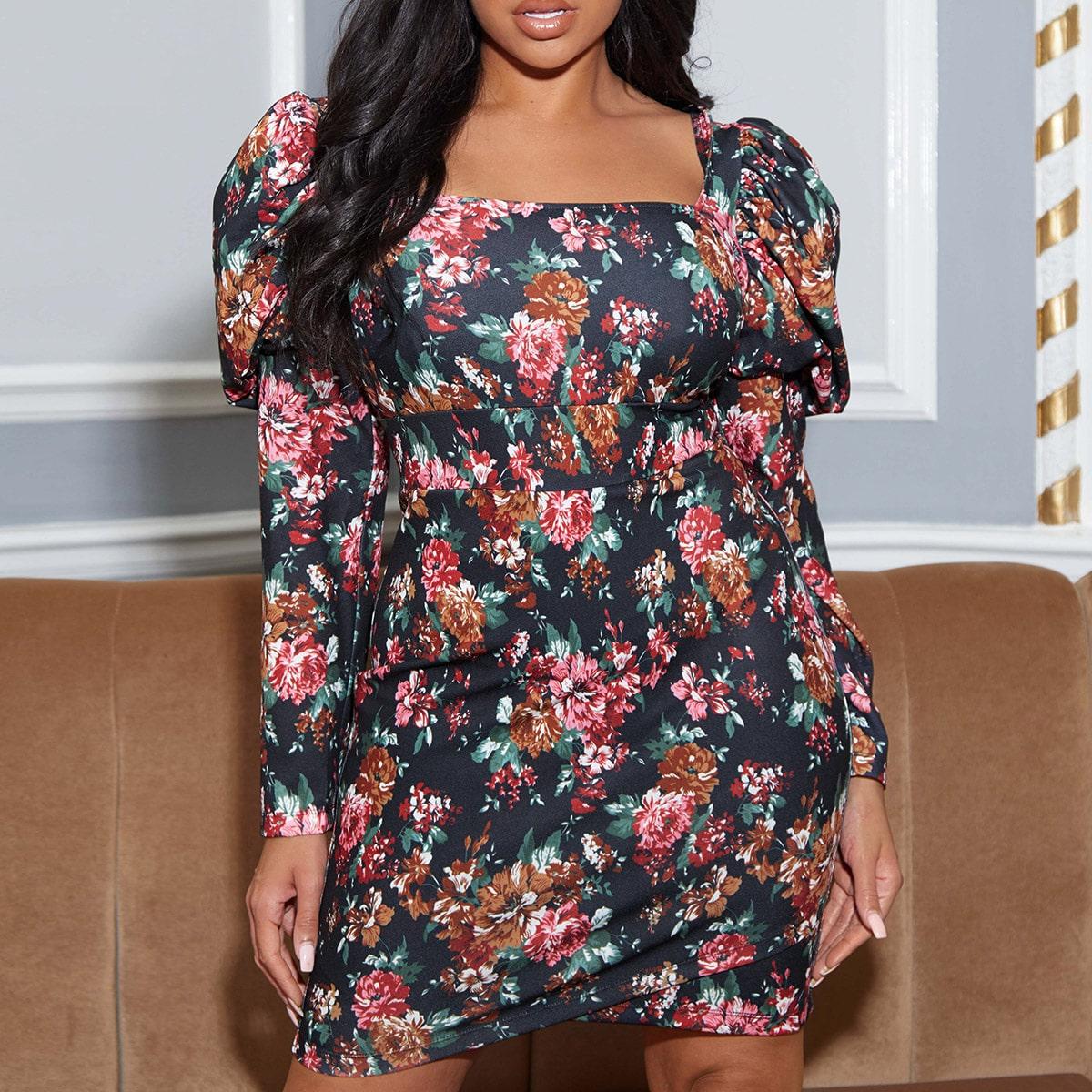 Платье размера плюс с квадратным воротником и цветочным принтом