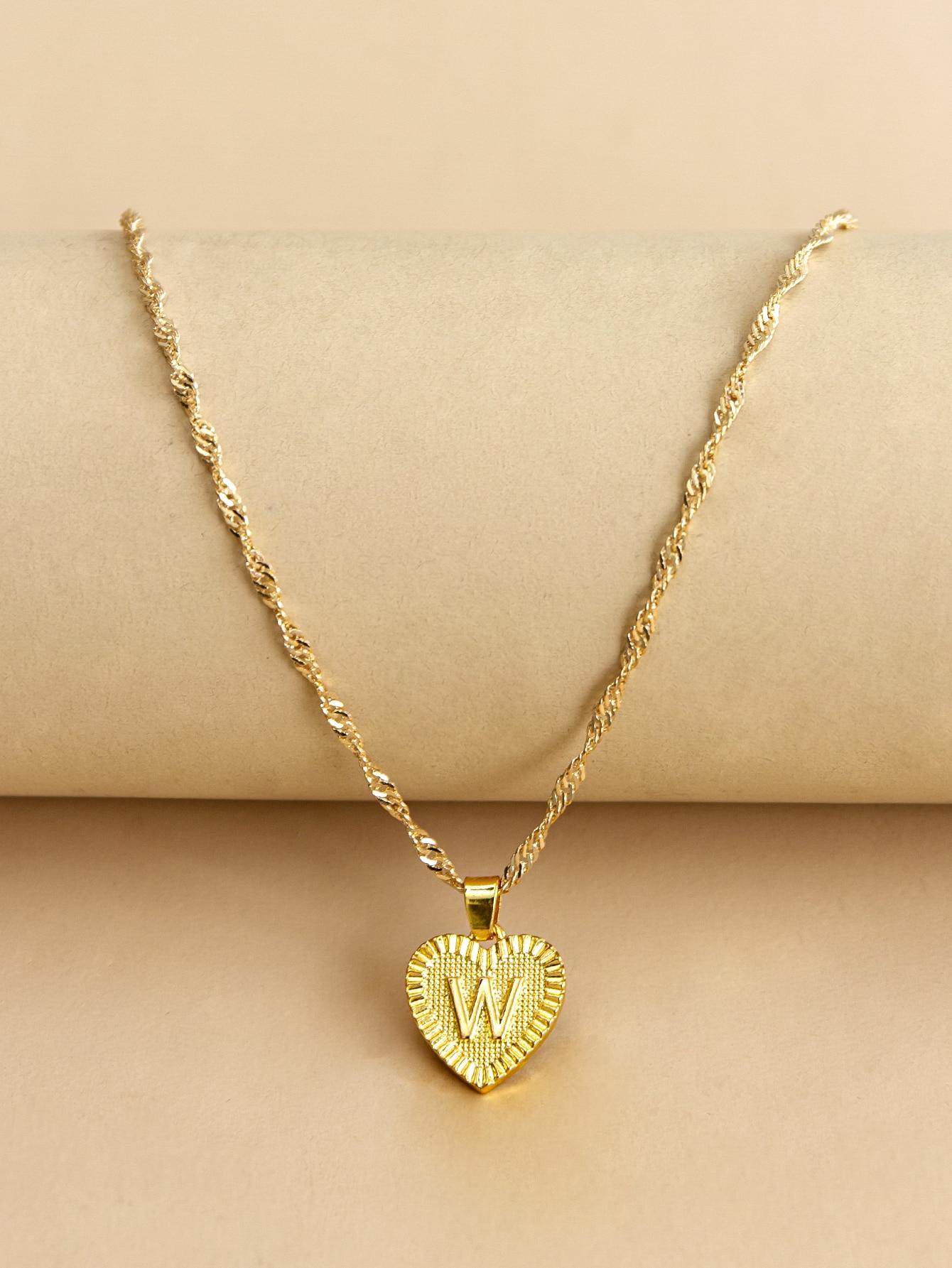 Letter Design Heart Charm Necklace thumbnail