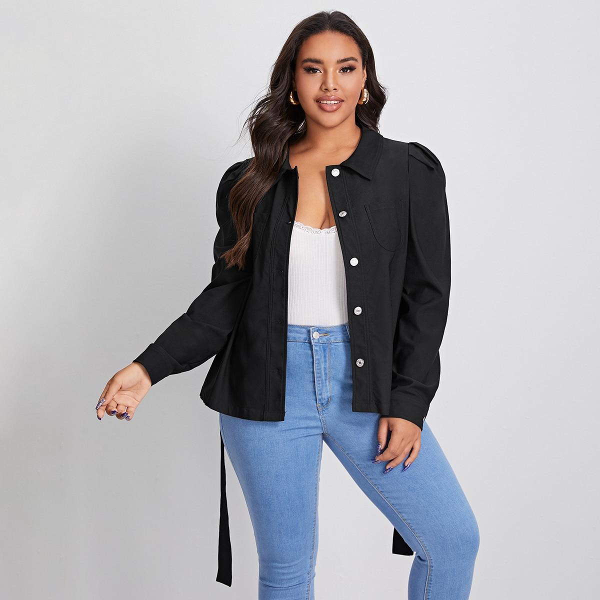 Однобортная куртка размера плюс с поясом и карманом