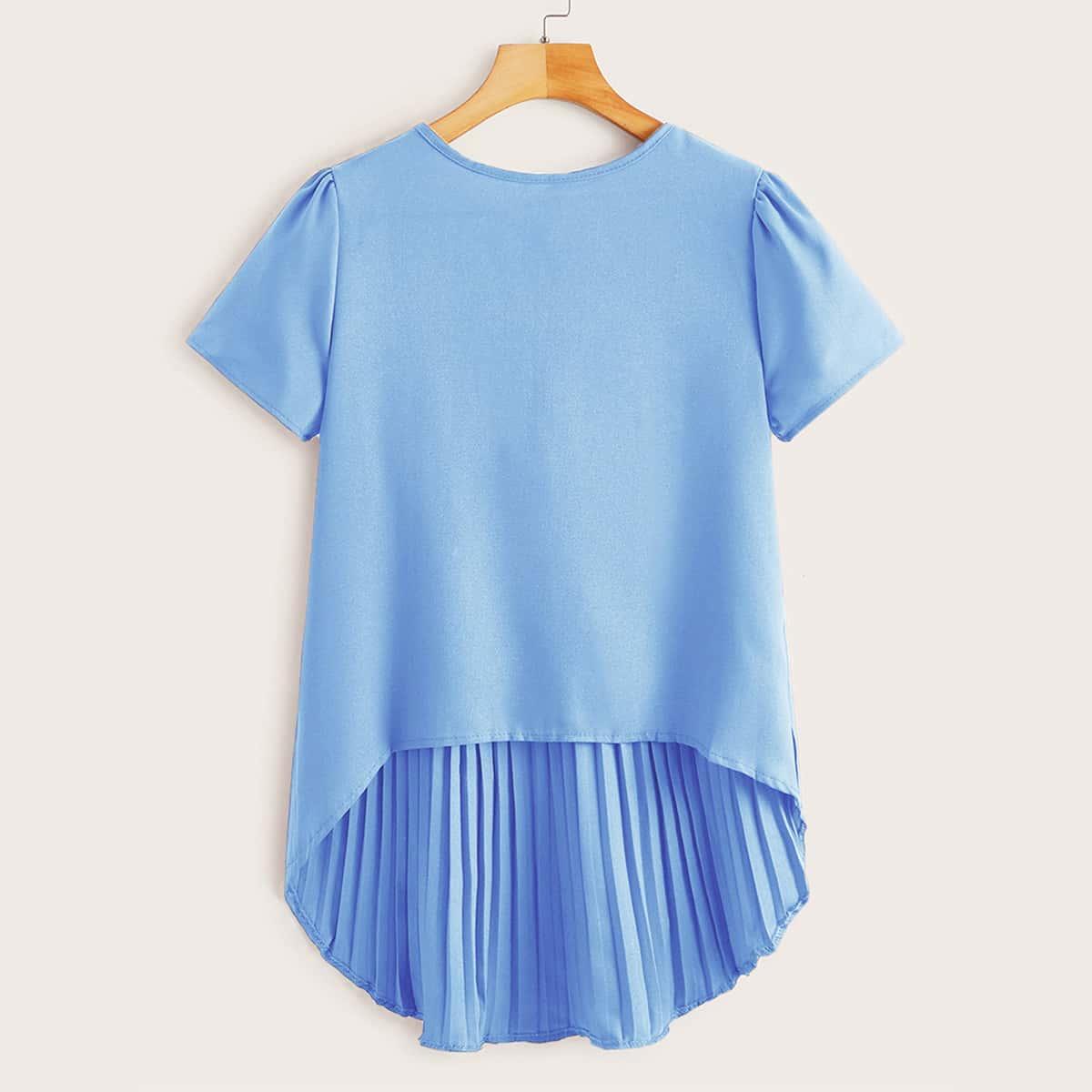 Плиссированное одноцветный повседневный блузы размер плюс