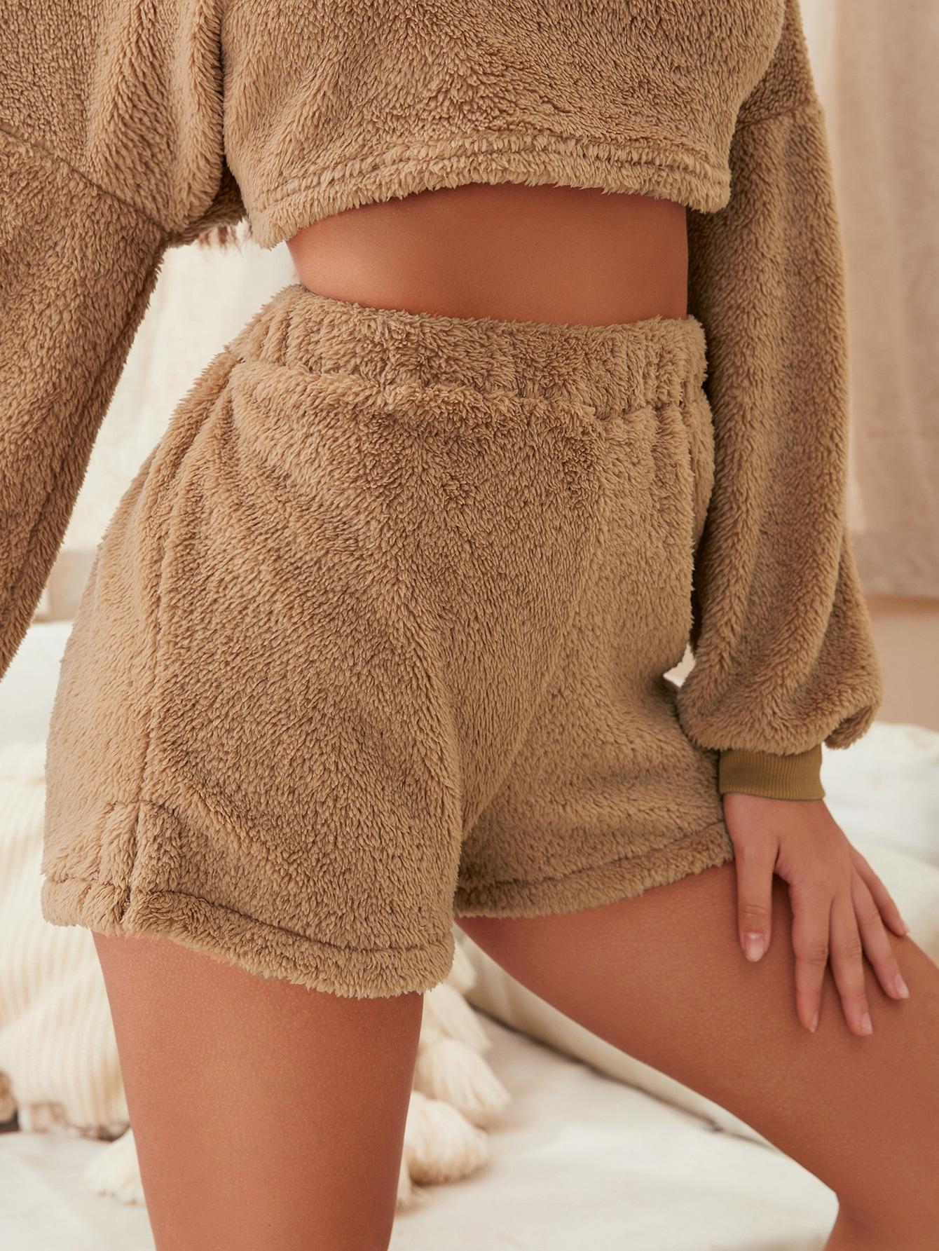 Flannel Slit Hem Lounge Shorts thumbnail