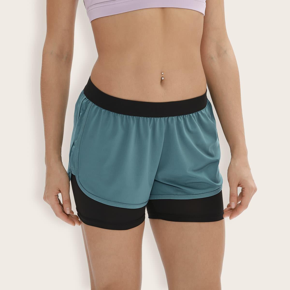 2 в 1 спортивные шорты с эластичной талией
