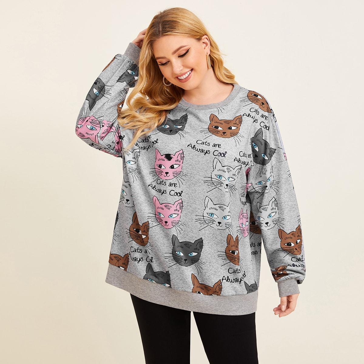 Пуловер размера плюс с оригинальным принтом